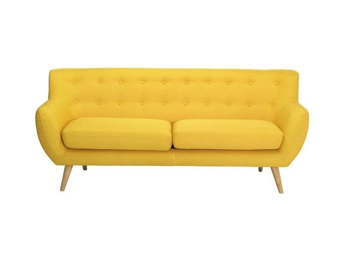 Canapea fixa tapitata cu stofa Alice Yellow