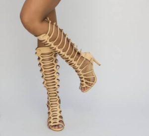Sandale gladiator lungi cu toc pentru femei Tokyo bej