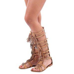 Sandale tip gladiator lungi cu paiete