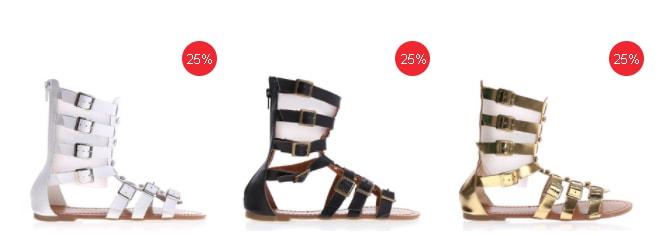 Sandale gladiator scurte fara toc pentru femei